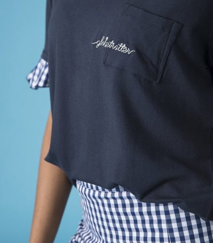 Camiseta Azul Marino con Cuadros Vichy de Mekkdes