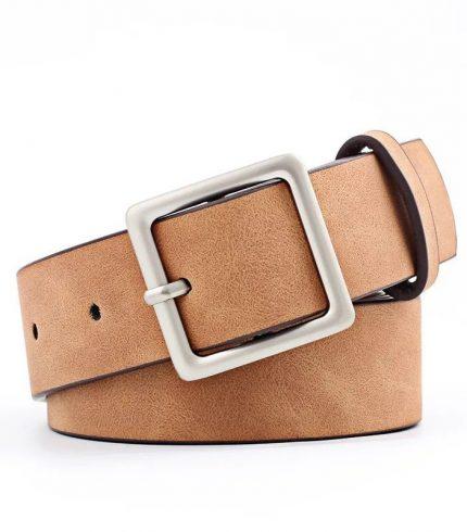Cinturón de Cuero con Hebilla Cuadrada