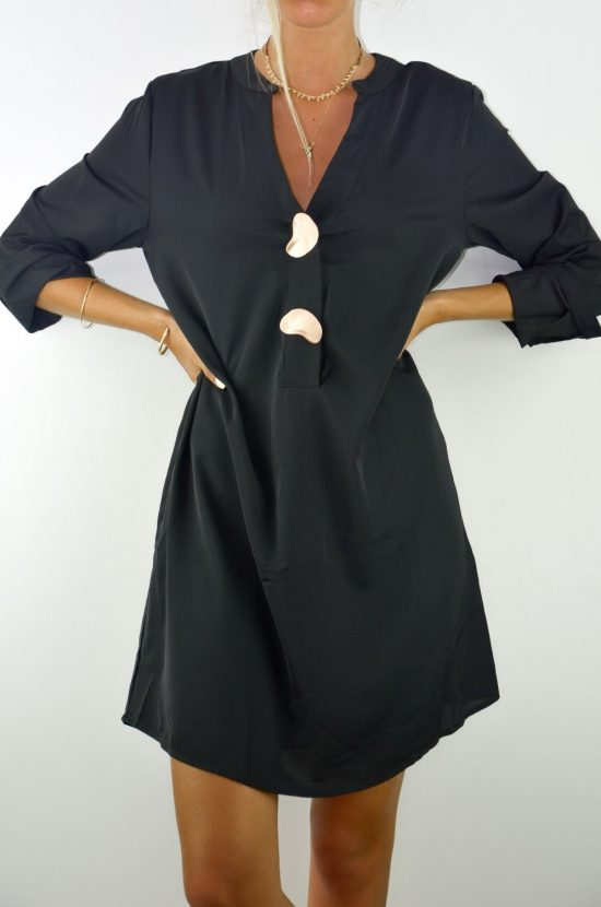 Vestido Negro Botones